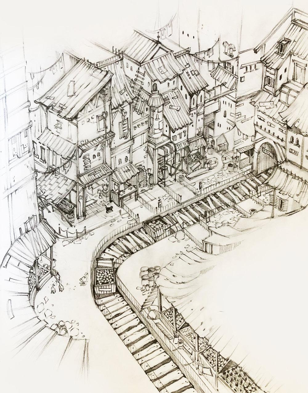 Market - Drawing . Animation