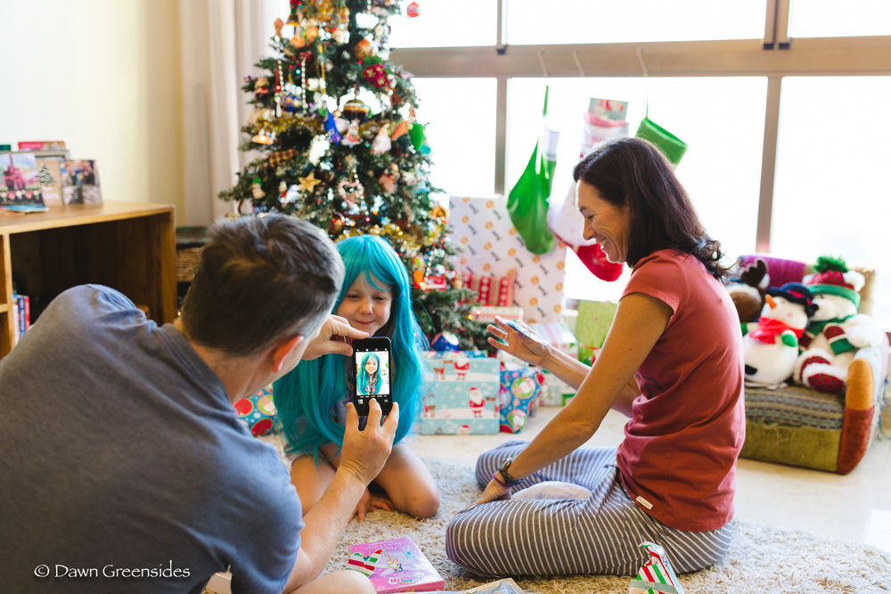 Christmas morning! Piper got some exciting new hair!!
