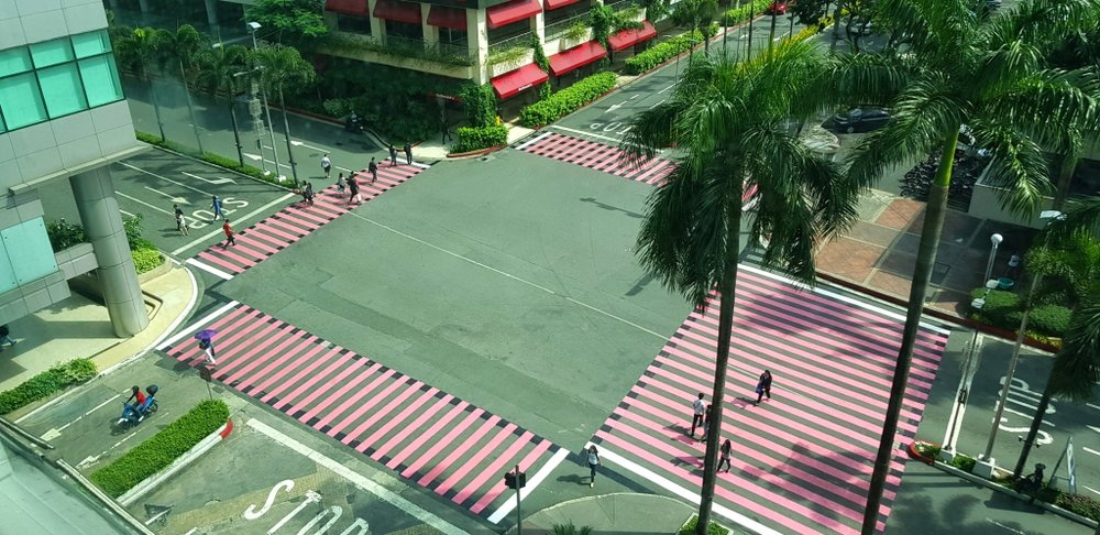The pedestrian lanes at the Araneta Center are painted pink for the Breast Cancer Awareness Month