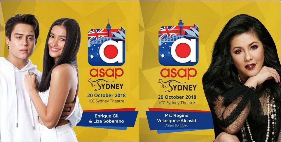 "SIZZLING ENSEMBLE CAST: Fresh from the success of their fantaserye, "" Bagani "", Enrique Gil and Liza Soberano, also known as the love team, ""LizQuen"", and Asia's Songbird Ms. Regine Velasquez-Alcasid, join the ASAP Live in Sydney cast, generating tons of excitement from fans all over. ( ABS-CBN/TFC Live )"