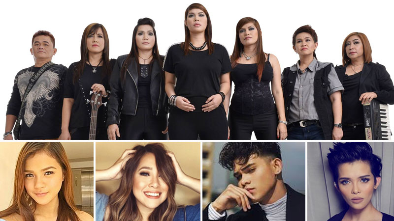 Top: Aegis; bottom: Maris Racal, Moira De la Torre, Iñigo Pascual, and KZ Tandingan