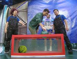 Chris Tiu, James & Roadfill, and Kyline performing Floating Bowling Ball Experiment