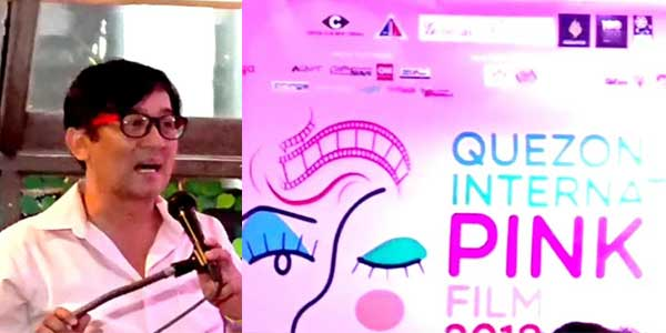 Nick de Ocampo welcomes members of the mass media to the launch of the Quezon City International Pink Film Festival
