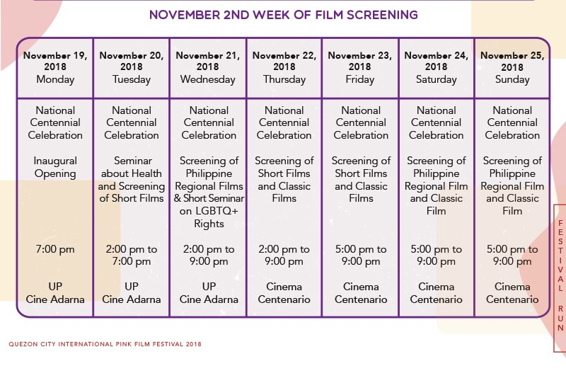Schedule of films at the QCIPFF