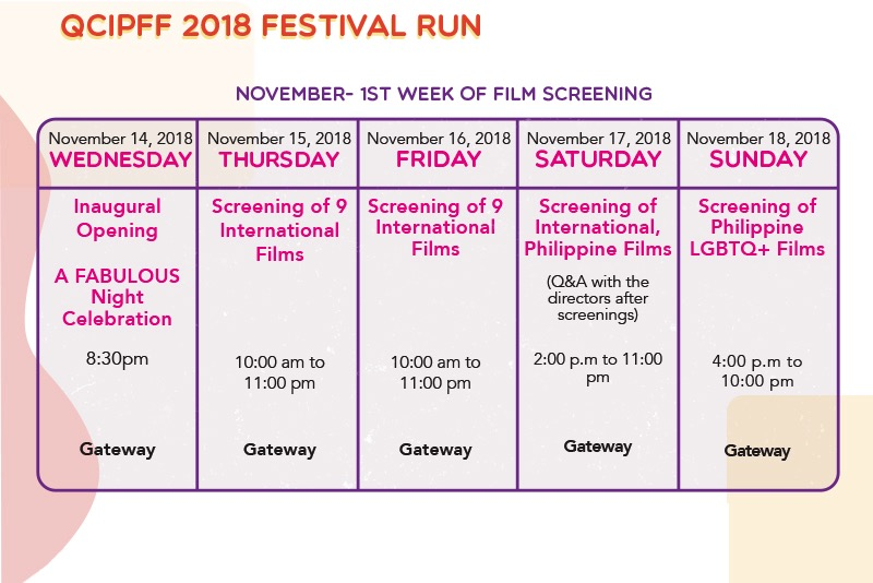 First week schedule of screenings at the QCIPFF
