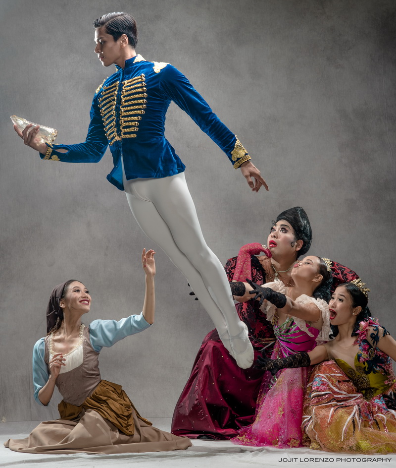 Prince Charming leaps into the air to the surprise of the wicked stepmother and her two daughters as Cinderella is delighted to see him