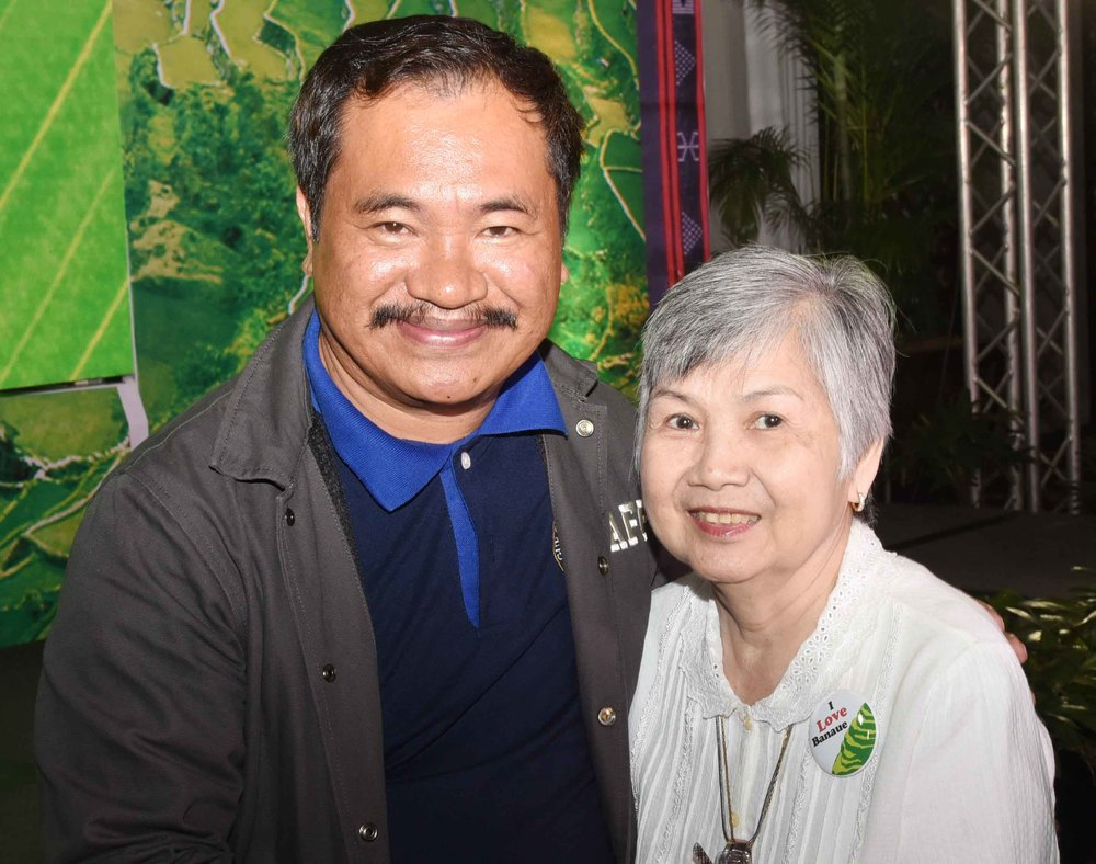 Banaue Mayor Jerry U. Dalipog with Mrs. Harvey Chua, wife of the late master photographer John K. Chua , adopted son of Banuae, who donated all his photographs of Banaue taken from the early part of his career to the end; to Mrs. How's Banaue book project, before John K. Chua passed away early this year