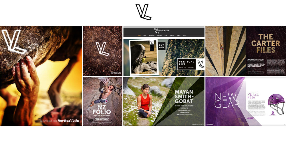 VERTICAL LIFE    100 pg Rockclimbing magazine    Concept, Style guide, branding, art direction by Heidi Green