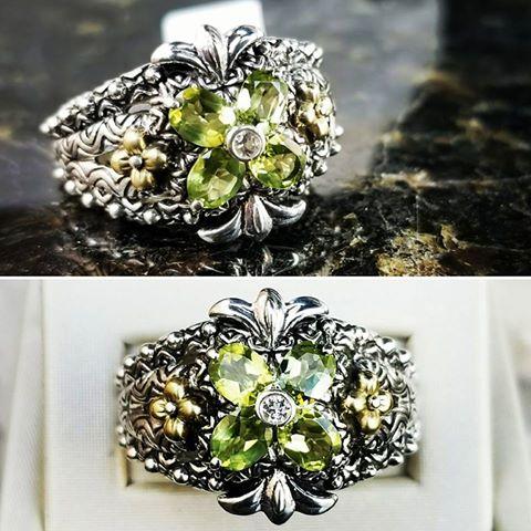 Pre Loved Barbara Bixby 18kt /.925 Green Peridot Flower Ring - 18kt /.925 Green Peridot Flower Ring