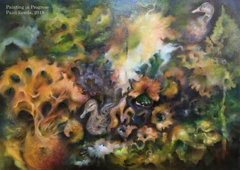 """Dreaming Ducks"", oil painting in progress, #2/2018. Size: 70 W x 49.5 H x 3.5 cm"