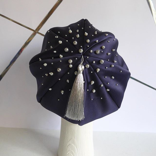A bit of magical wintery beadwork for Christmas Eve! It's nearly time!  I've been flat out this year so thank you to all my customers and followers for a brilliant year. Hope you're all surrounded by love and happiness xxx #winterhat #felthat #christmas #autumn #winter #handmade #millinery #partyseason #headpieceforparty #beret #beading #handmade #madeinlondon #lizziemcquade