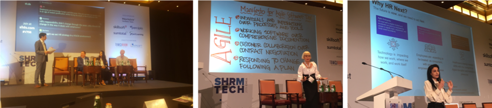 Speakers at SHRM Tech Dubai (from L to R): Panel on Future of Work with David Green, Jason Averbook, Dena Almansoori and Mark Levy; Anna Tavis and Zakaa Farhat