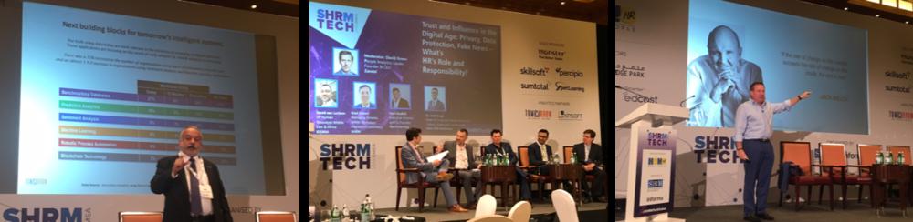 Speakers at SHRM Tech Dubai (L to R): Prithvi Shergill, the panel on Trust with David Green, David van Lochem, Paul Gledhill, Amit Singh and Brad Gerbert; and Jason Averbook