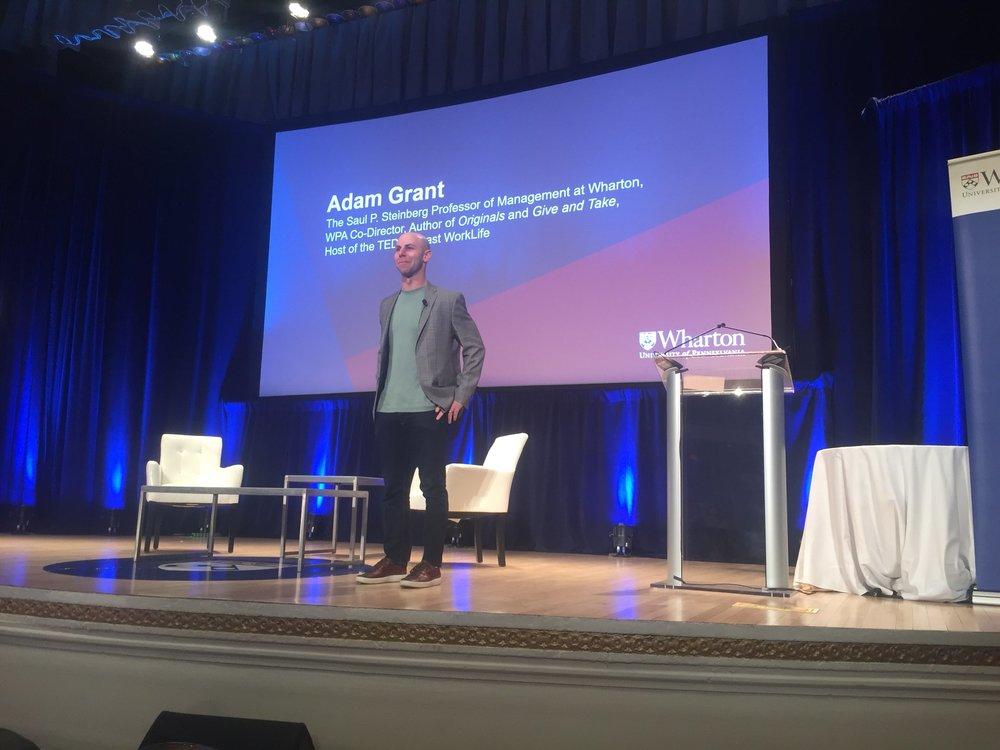 Adam Grant gives his closing remarks at Wharton PAC 19