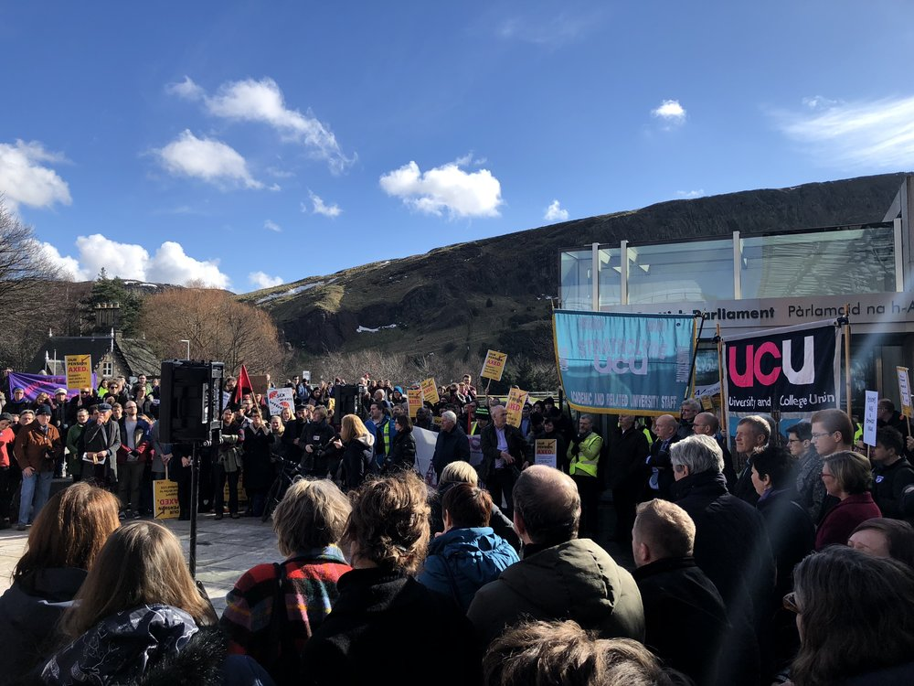 All-Scotland UCU Rally outside Scottish Parliament, Thursday 8 March
