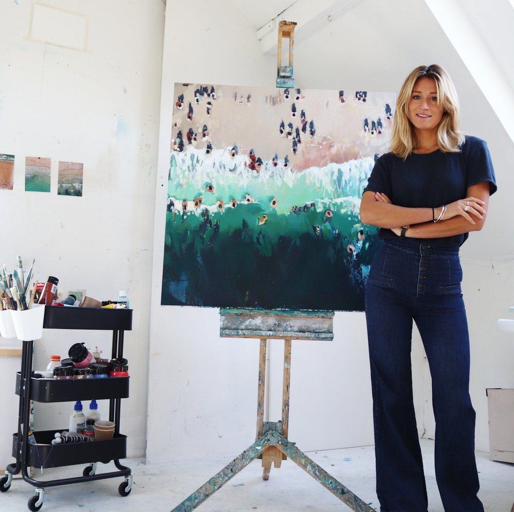 Nina Brooke in her studio in Rock, Cornwall