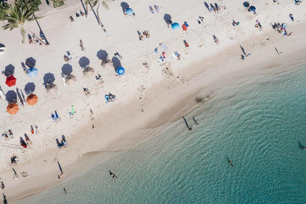 An aerial view of Waikiki Beach, Hawaii taken by Nina Brooke