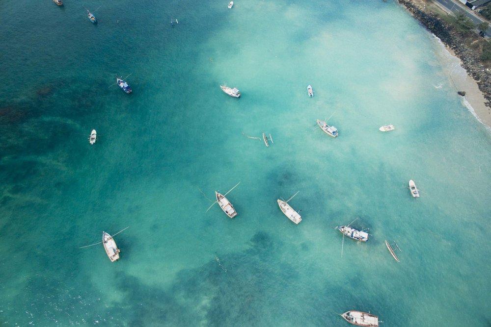 An aerial view of Weligama Bay, Sri Lanka