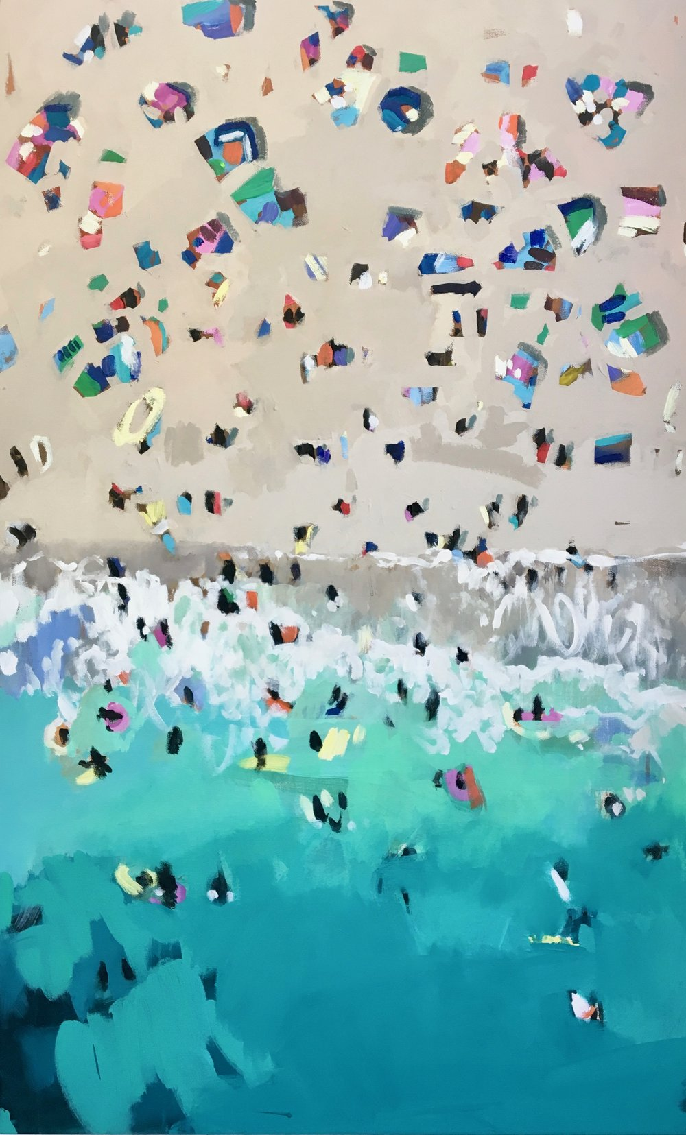 Nina Brooke Porthcurno Acrylic on canvas 70cm x 115cm SOLD