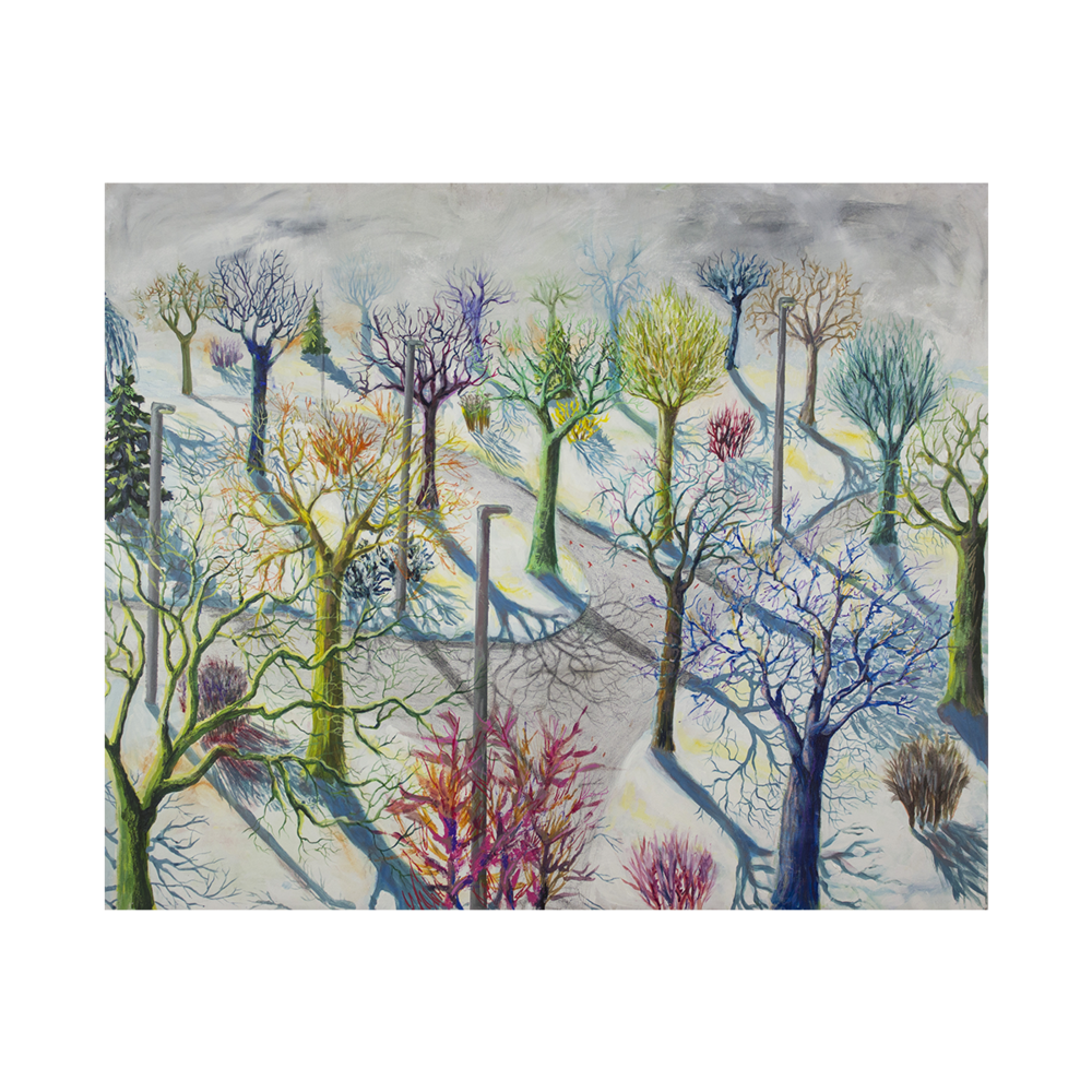 Winter blooming  | 81x98 cm, vegyes technika, farost, 2014