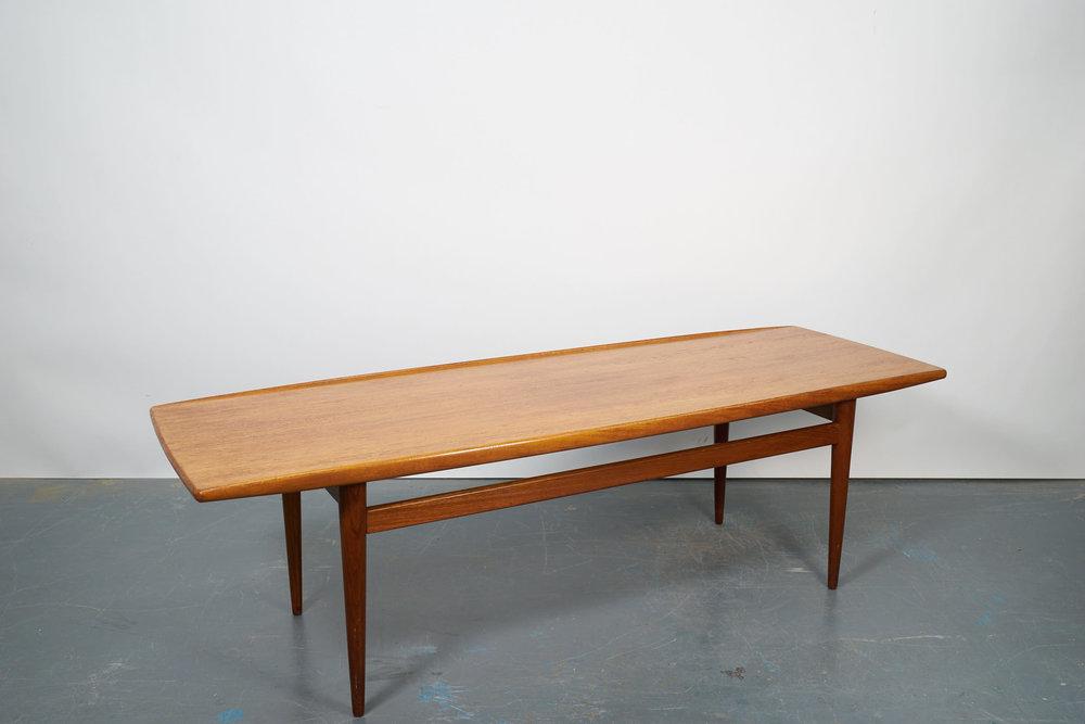 Long Danish Teak Surfboard Coffee Table 1960s Oow Old Old Woods