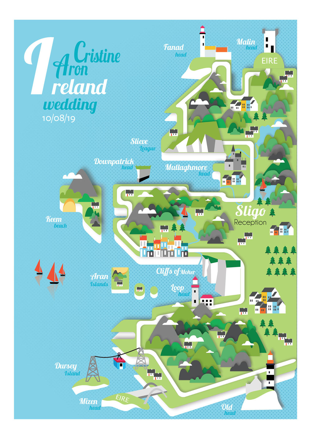 Ireland map wedding invite
