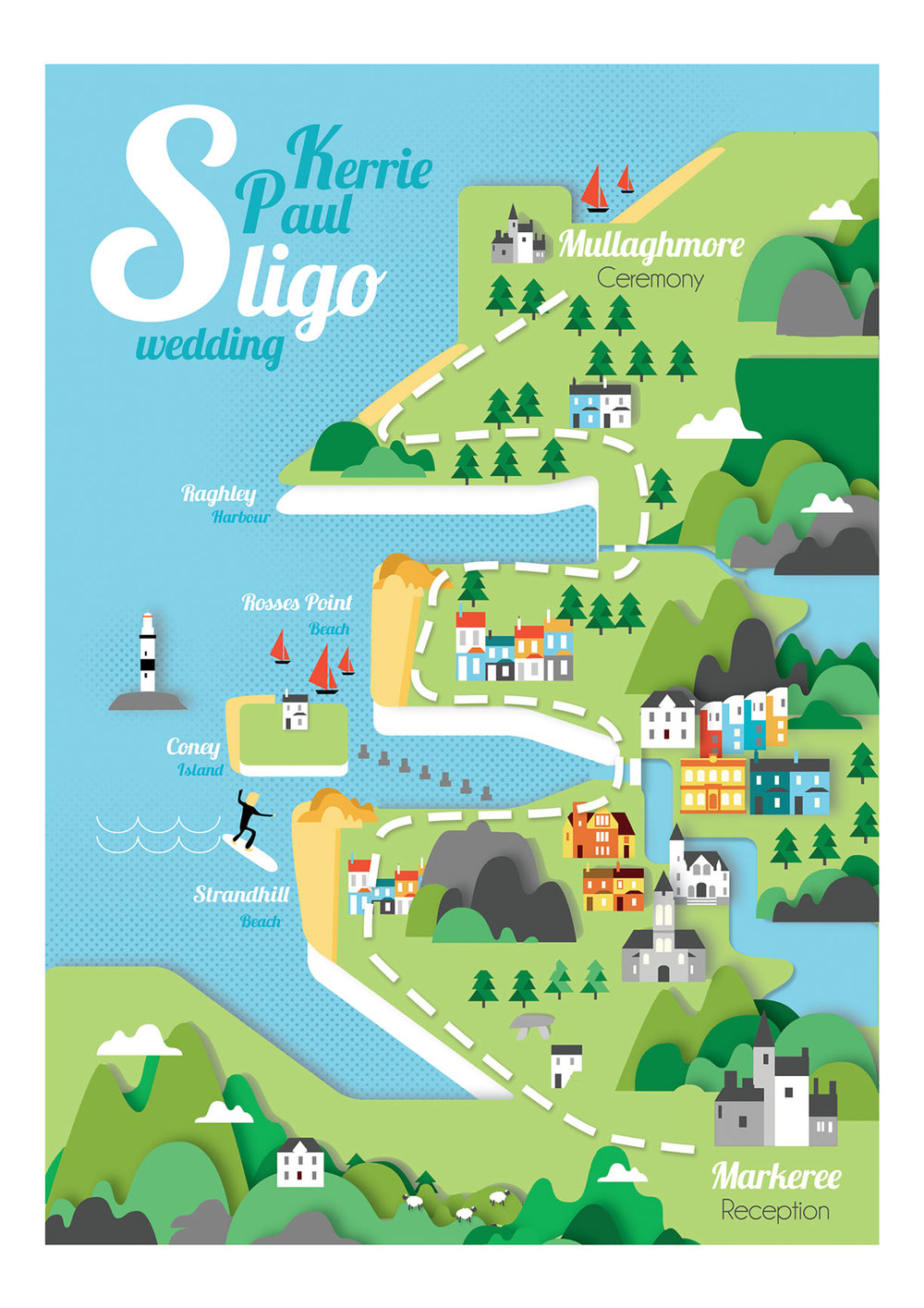 Sligo map wedding invite