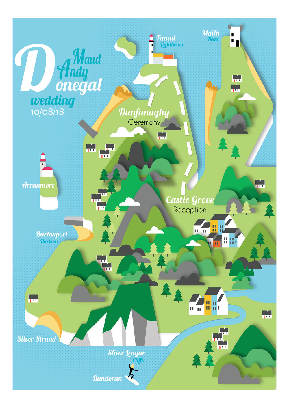 Donegal map wedding invite