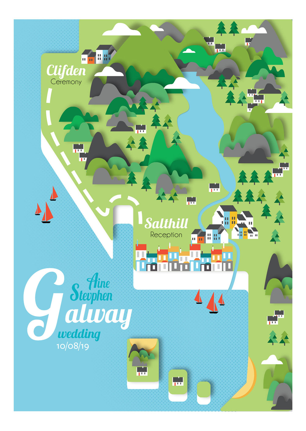 Galway map wedding invite