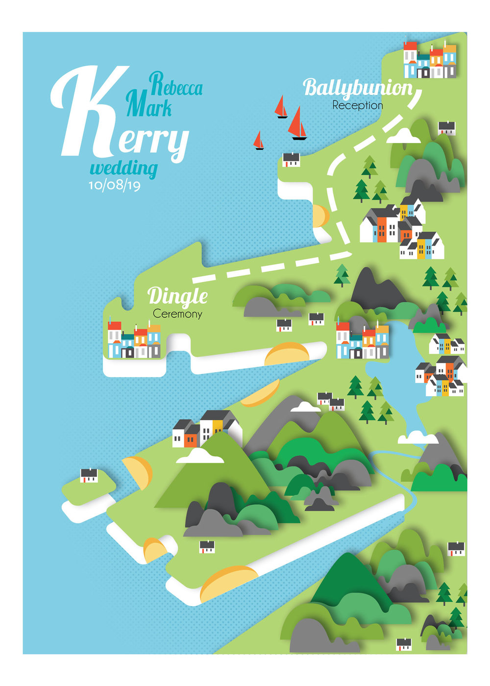 Kerry map wedding invite