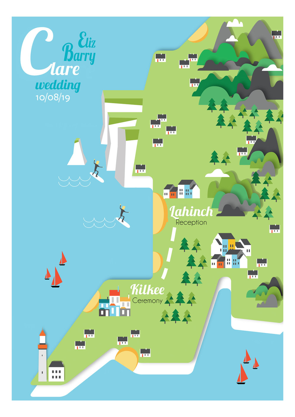 Clare map wedding invite
