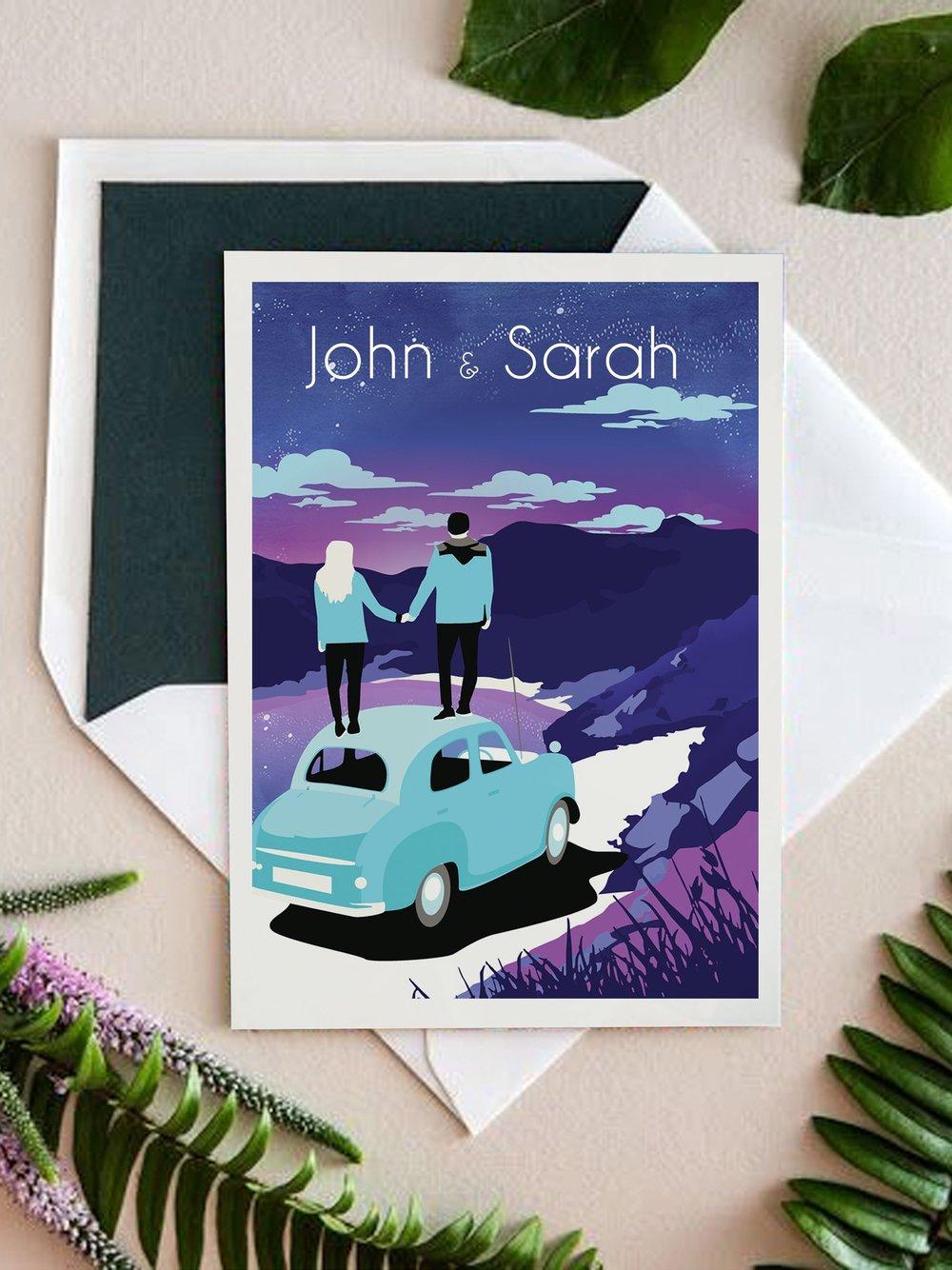 illustrated Wedding-invite-couple-on-car.jpg