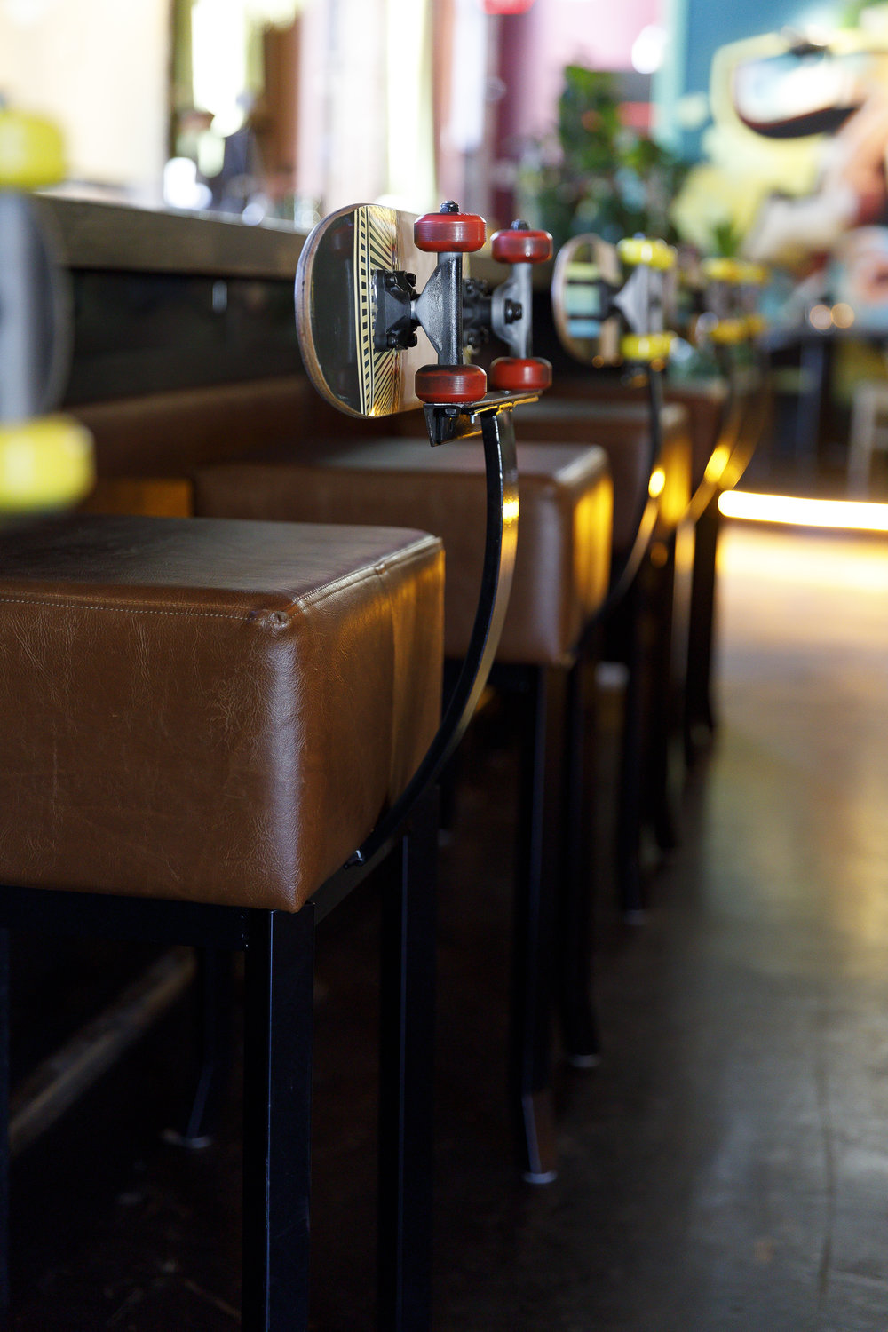Bar Stools with Skateboard Backs