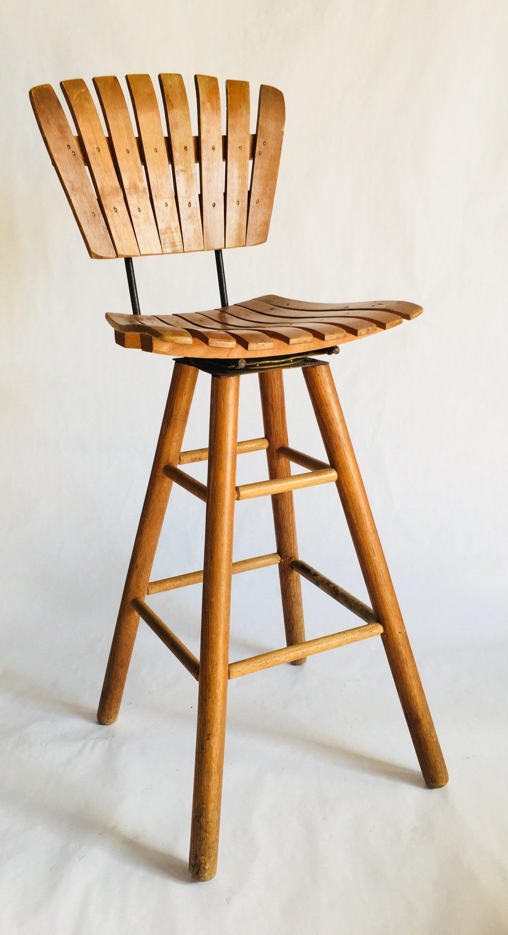 Mid century slat wooden bar stool with wood swivel base