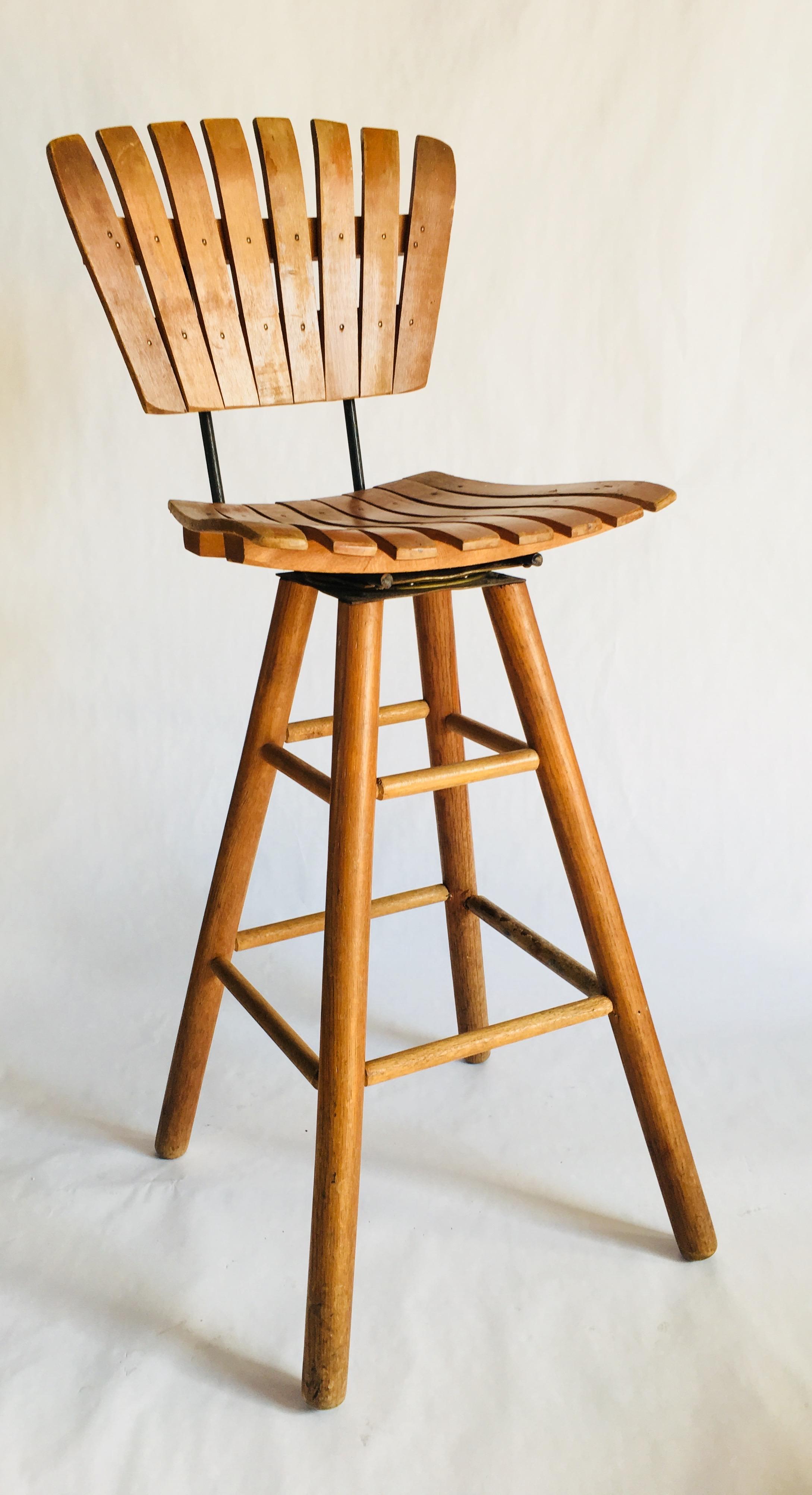 Fantastic Mid Century Slat Wooden Bar Stool With Wood Swivel Base Kyla Coburn Designs Commercial Restaurant Hospitality Cjindustries Chair Design For Home Cjindustriesco