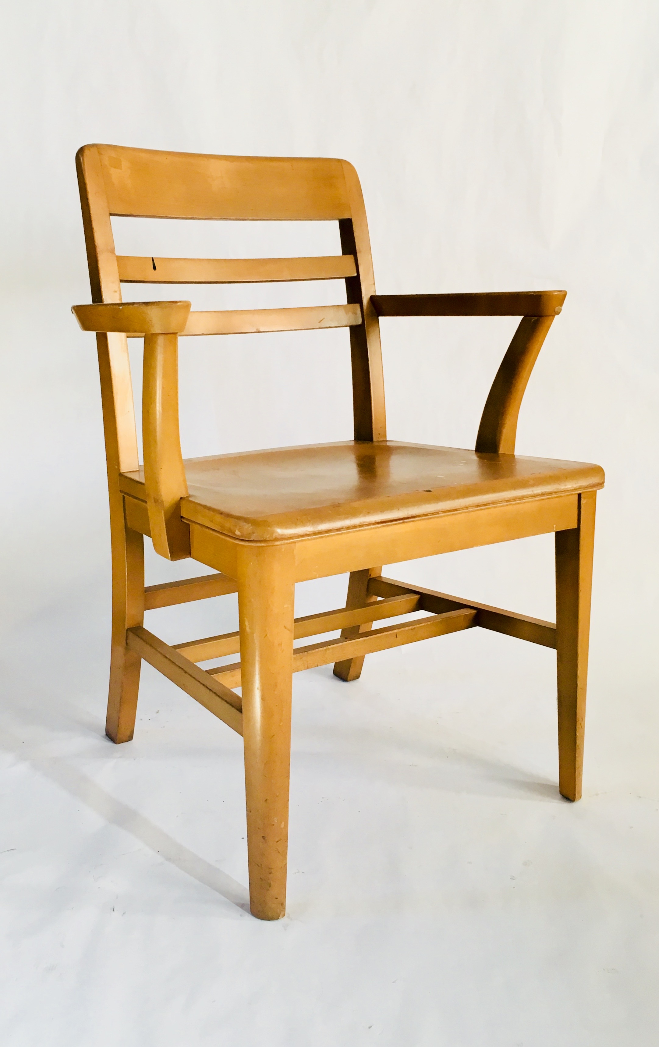 Vintage Wooden Chairs >> Vintage Wooden Library Chair By Gunlocke Chair Co Kyla Coburn