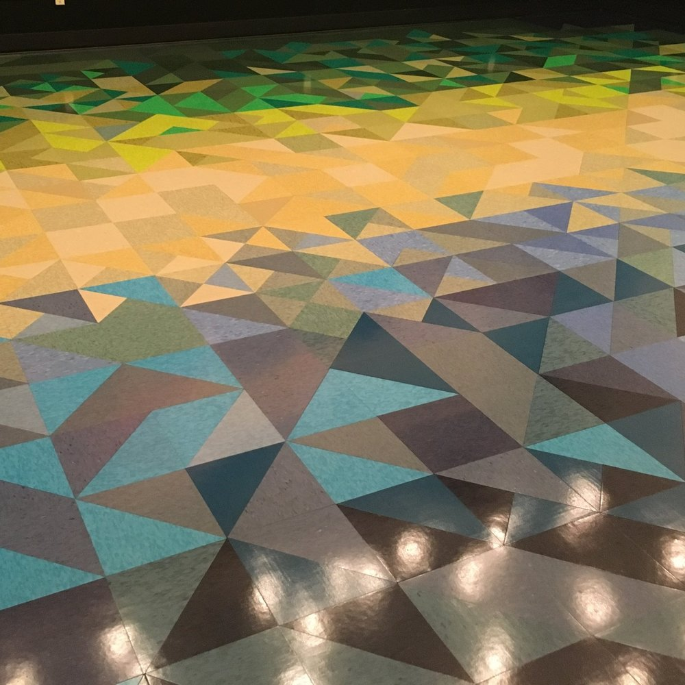 """Color Study"" VCT floor design at the Rhode Island School of Design ""Portfolio"" Dining Hall."
