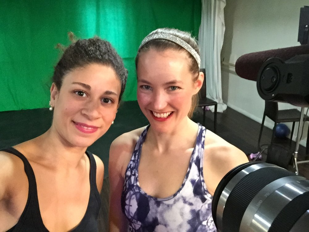 Master instructor, Michelle and founder, Joanna on set for the Barre Vida workout video.
