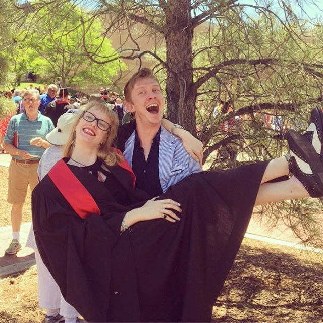 That's right, ladies and gentlemen, she's a functioning part of the economic turmoil! She's got her Bachelors and she's ready to ROLL. #graduate #lookatthatstole #lookatthosewingtips #dugraduation #poorguyinthebackground #lookssoconfused #butalsohappycuzheseating
