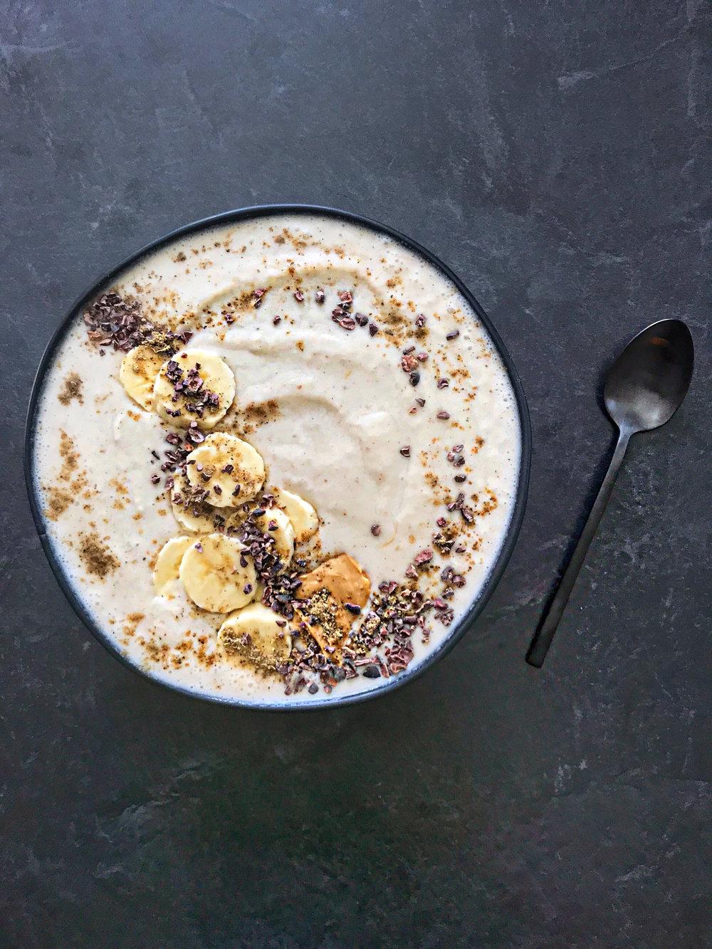 Masala Chai Smoothie Bowl with Banana + Cacao