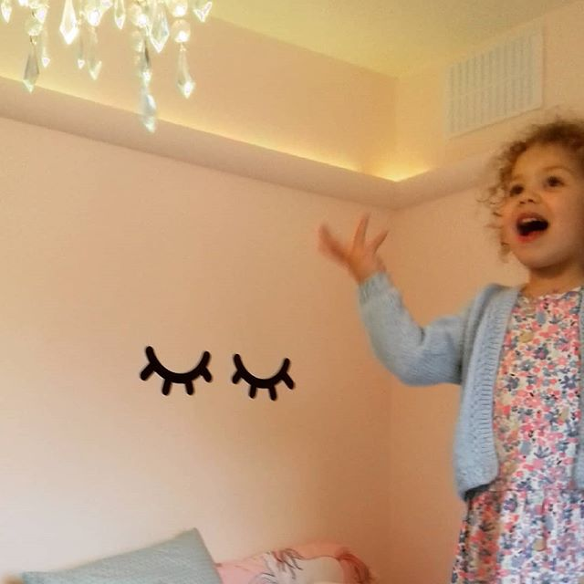 "This face! 😍 A special client (my niece!) Checking out her new room for the first time. Pink ✔ unicorns ✔ rainbows ✔. When I asked if she liked the unicorn eyelashes above her pillow she responded with ""they are cows bottoms not eyelashes"" 😂😂😂. I see her point!  #nataliesandersinteriors #kidsbedroom  #unicorns #rainbow #happyclient #installday #girlsbedroom #interiordesigner #berkshireinteriors #interiorstyling #pinkbedroom #unicorneyelashes #sleepyeyes #pinkandaqua #happysunday #sundayfunday"