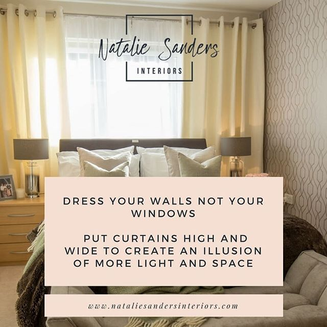 Thought I might share a styling tip each Tuesday to help you get your home looking fab! 😀 Kicking it off with curtains. Help create the illusion of bigger windows (and therefore light) by hanging your curtains high and wide! Whether they are full, thick drapes or sheer panels, there is just something about curtains that takes it to the next level.  #nataliesandersinteriors #tuesdaytip #interiordesign #interiorstyling #curtains #dressthewall