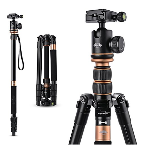 """Rangers 57"""" Aluminum Tripod with 360° Panorama Ball head - It's fold-able AND can be turned in to a mono-pod. It's around $69 bucks but worth every penny."""