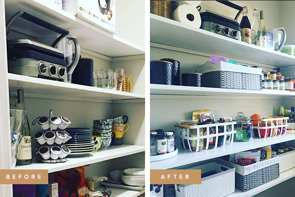 "Kristina's Kitchen Pantry - ""L+K organized my pantry after moving into my new home! Kim was super easy to work with and customized my pantry according to my specific needs. I like that my size family, preferences, style, and budget were discussed before, during, and after the project. Even with being a part of some decisions along the way, the finished product was still an awesome reveal of a clean, organized space! I could not have done that myself."""