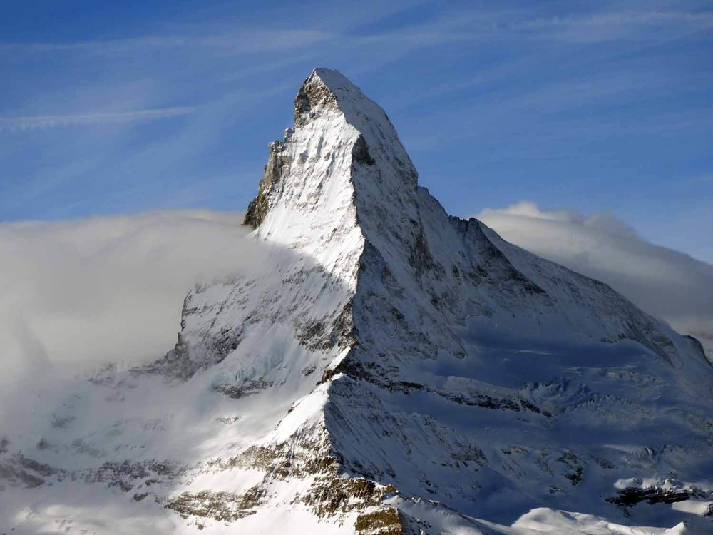 The Matterhorn - One of the highest peaks in the Alps (4,478m/14,692 ft) and one of the deadliest mountains in the world. Over 500 climbers have been killed on the mountain since the first successful climb in 1865.