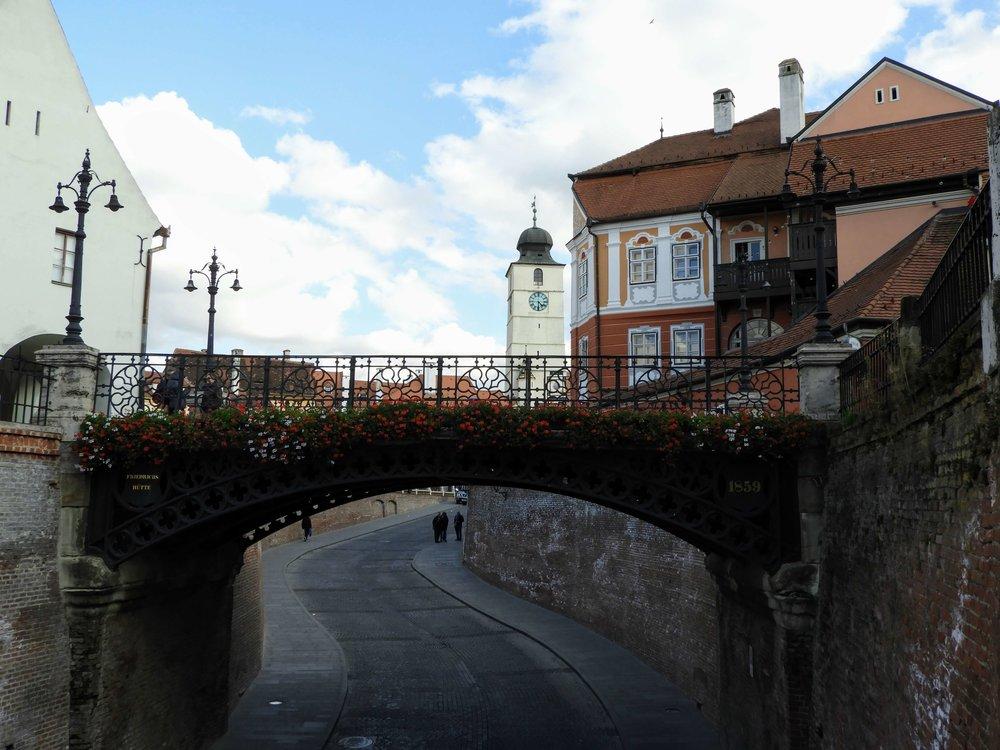 romania-sibiu-piata-mica-old-town-square-bridge-flowers.JPG