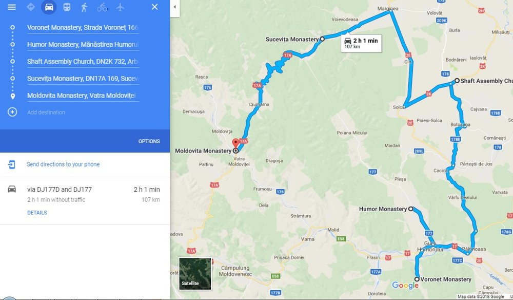 1 Day Itinerary: Map of the route we took to see 5 of the best monasteries in a single day.
