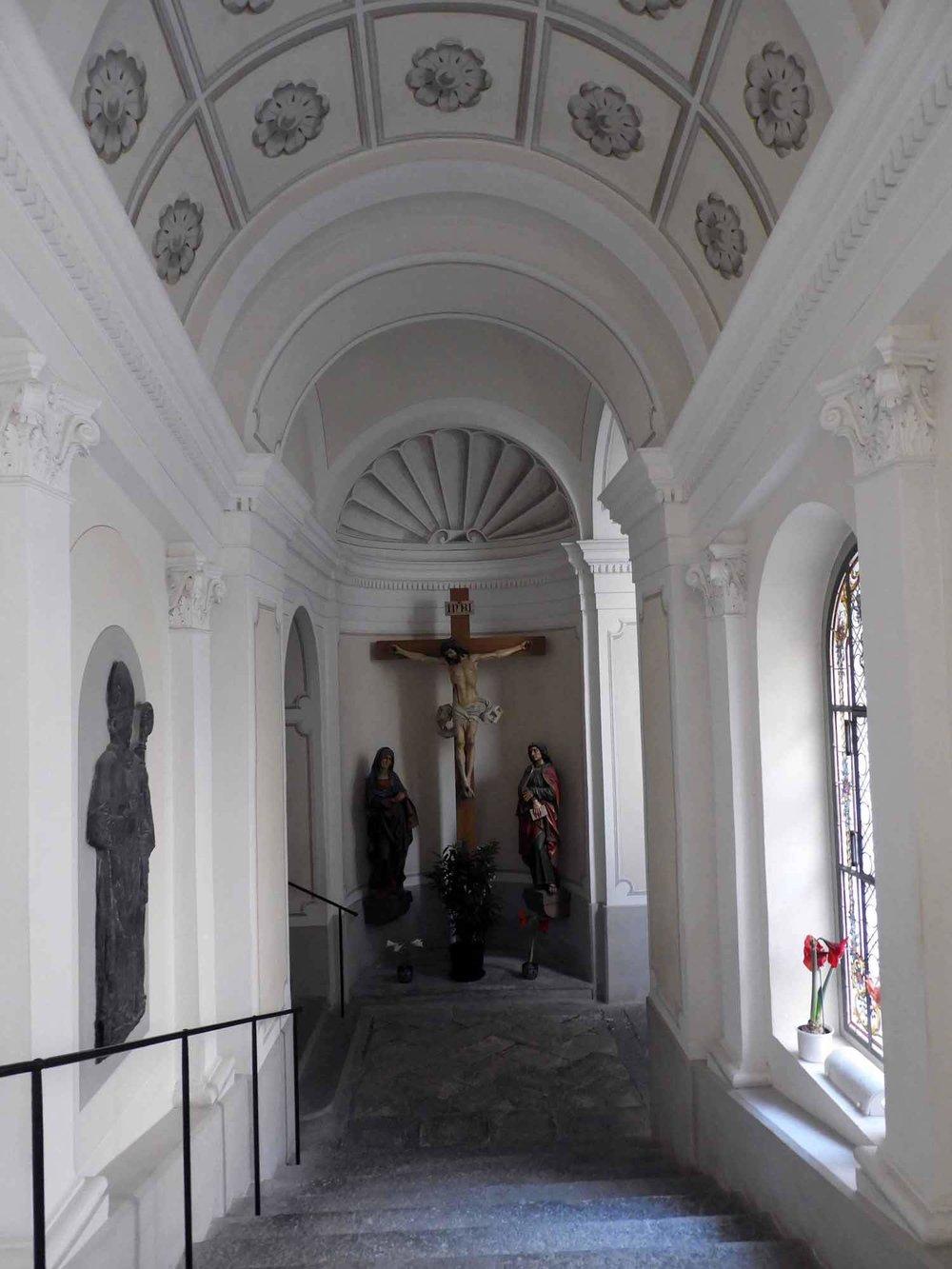 switzerland-oberalppass-vorderrhein-river-valley-monestary-kloster-disentis-hallway-stairs.JPG