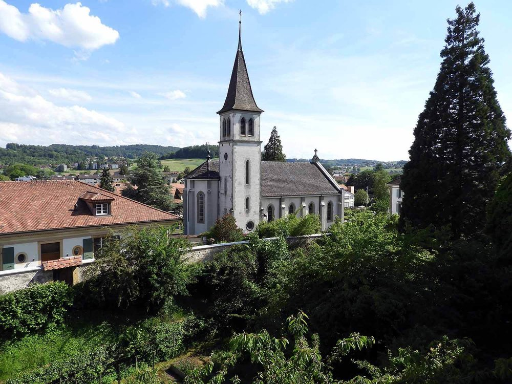 switzerland-murten-giant-sequioa-church.JPG
