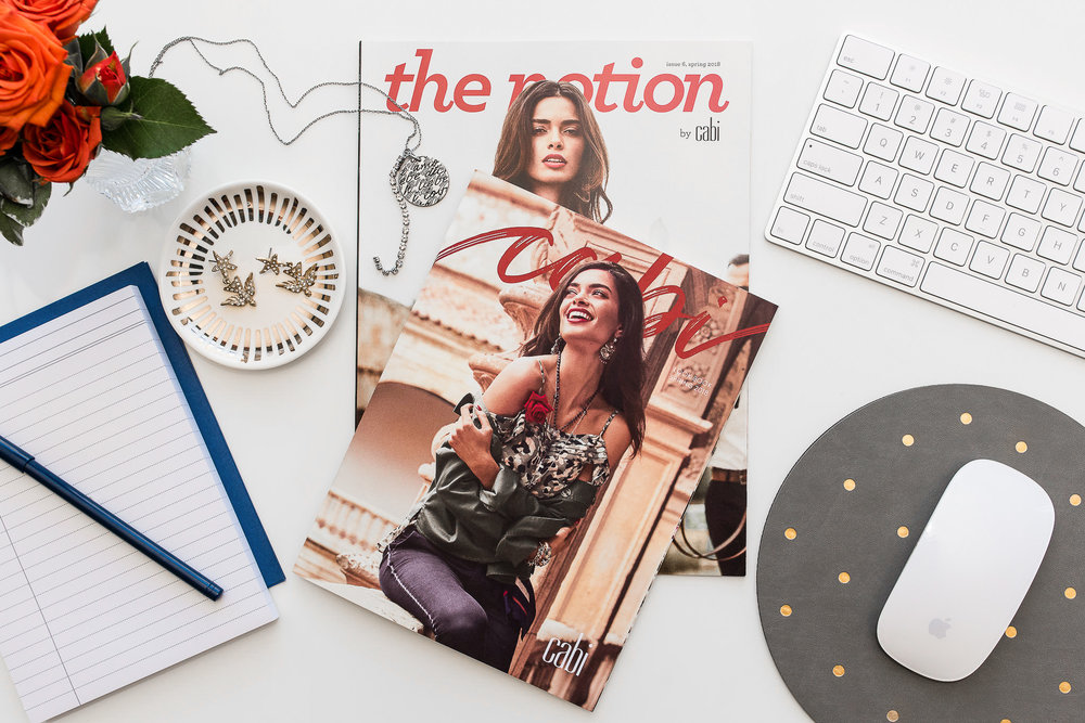 Custom product photo with magazine and desktop for Cabi Stylist.